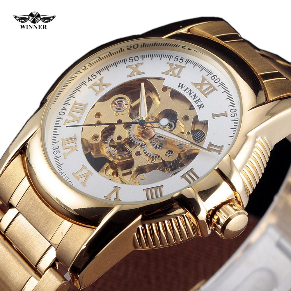 Winner Watch Gold Stainless Steel Mechanical Clock Men Luxury Roman Analog Military Skeleton Automatic Wristwatch Male Gift 2017 black rose gold winner men watch cool mechanical automatic wristwatch stainless steel band male clock skeleton roman dial