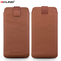 For IPhone 7 4 7 Inch Pouches Bags QIALINO Genuine Leather Pouch Case With Pull Tab