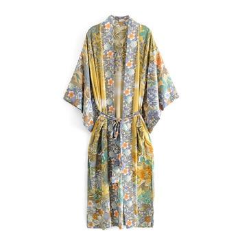 2019 Bohemian V neck Tiger Flower Print Long Kimono Shirt Ethnic New Women Lacing up Bow Sashes Long Cardigan Loose Blouse Tops ethnic plunging neck long sleeve print blouse for women