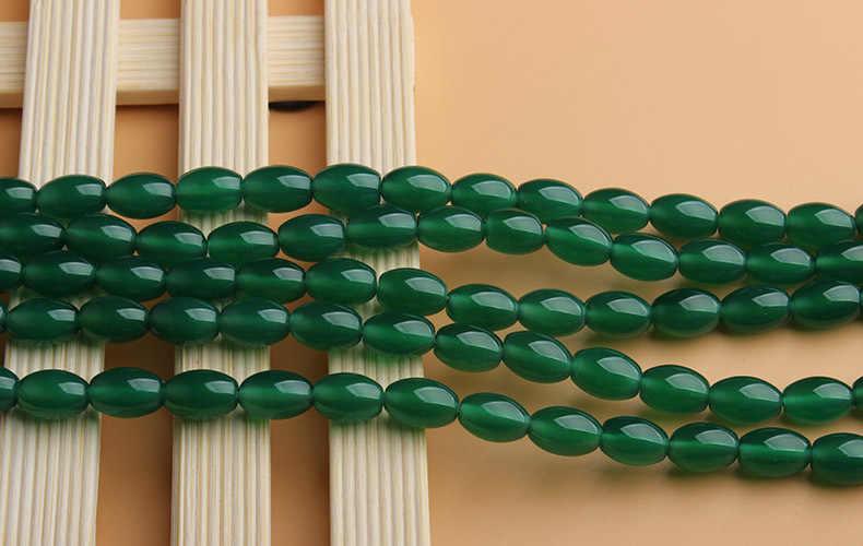 A ธรรมชาติสีเขียวลูกปัด Agat ลูกปัดรูปไข่ 4*6 มม.6*9 มม.8*12 MM อัญมณีหินลูกปัดแบบหลวมสำหรับเครื่องประดับทำด้วยมือทำ