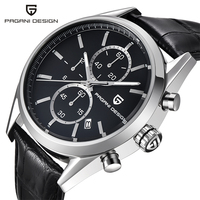 PAGANI DESIGN New Fashion Mens Watches Top Brand Luxury Big Dial Black Quartz Watch Leather Waterproof Chronograph Watch Men