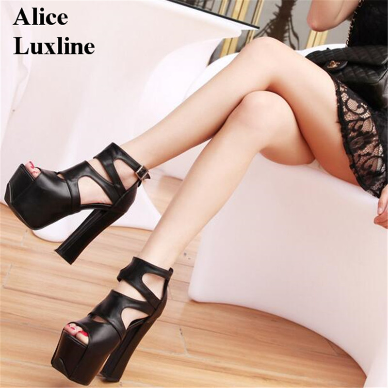 2017 14cm women summer Sandals Hollow fish mouth square high heels All-match Thick soled shoes strappy sexy Club ladies sandals