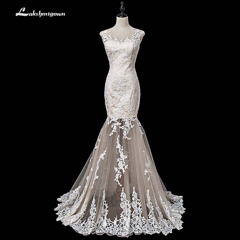 ea07f8d3f3d06 Aliexpress.com : Buy Modest Appliques Scoop illusion Mermaid Wedding Dresses  2018 White Ivory Court Train wedding Gowns Custom Made robe de mariage from  ...