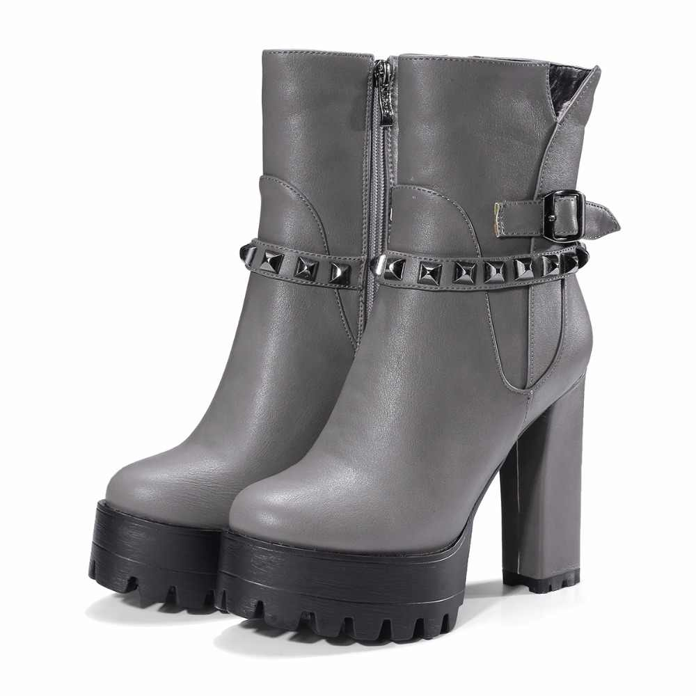 Arden Furtado 2018 winter neuen stil schuhe für frau plattform nieten high heels 12 cm mode stiefeletten schuhe für frau 32-42