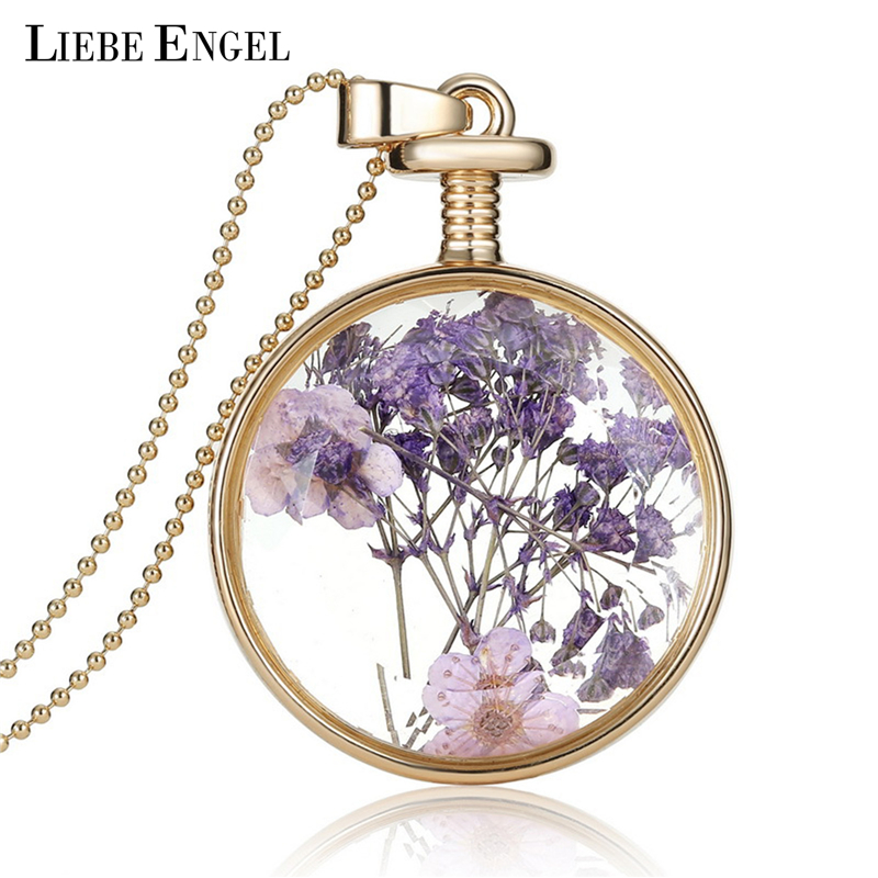 LIEBE ENGEL Romantic Collares Purple Dried Flower Crystal Glass Pendant Necklace Long Gold Chain Necklace Jewelry