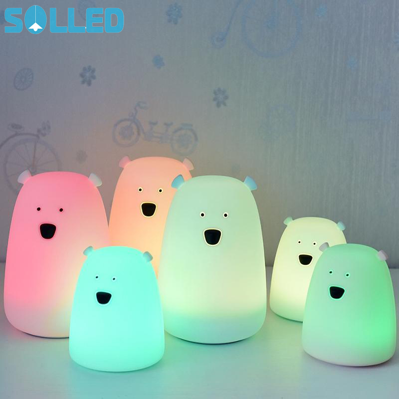 SOLLED Colorful LED Silicone Bear Night Light Rechargeable Touch Sensor Light Children's Modes Cute Night Light Bedroom Lamp TH cute 3d rilakkuma bear jelly silicone cover for ipod touch 6 touch 5 red