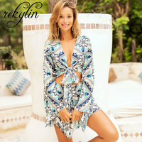 Floral Print Chiffon Playsuit Women 2019 Summer Sexy Long Long sleeves Halter Sleeveless Boho Rompers Jumpsuit Beach Party Overa