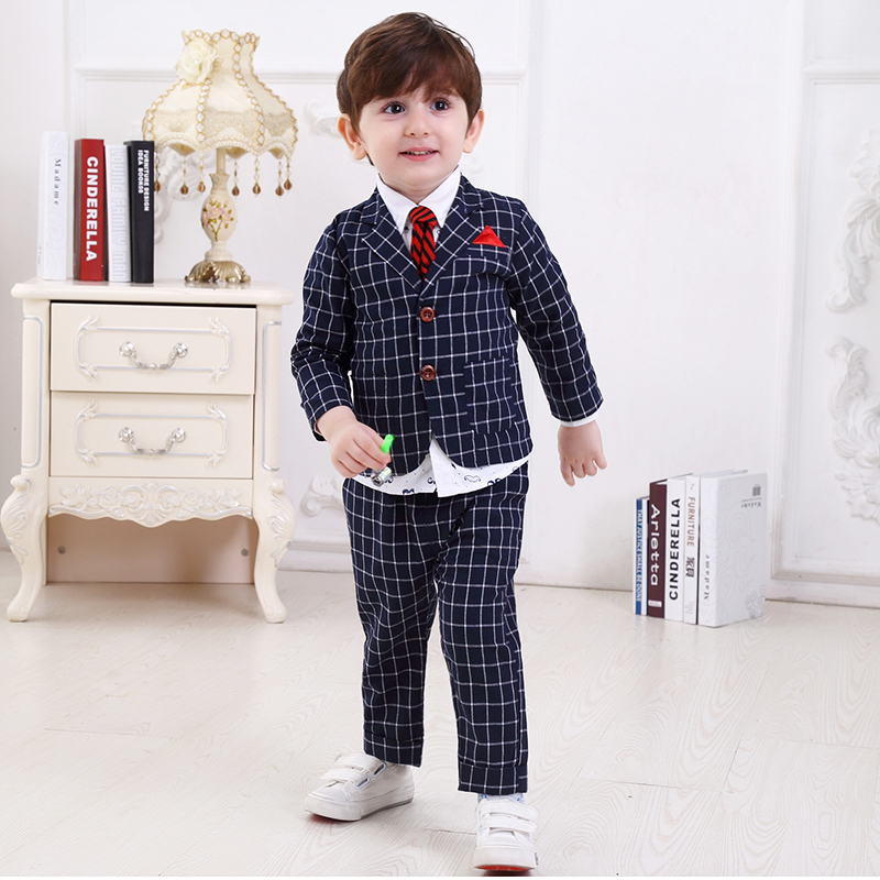 Kids Dresses For Boys Baby Boy Clothes 4t Set Children Plaid Suit Wedding Formal Wear Winter 3 Pcs Suits Kids Boys Clothes Sets