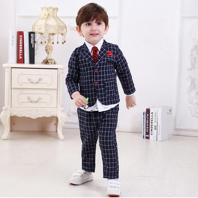 c8404fc319 kids dresses for boys baby boy clothes 4t set Children plaid Suit Wedding  Formal Wear winter 3 pcs suits kids boys clothes sets