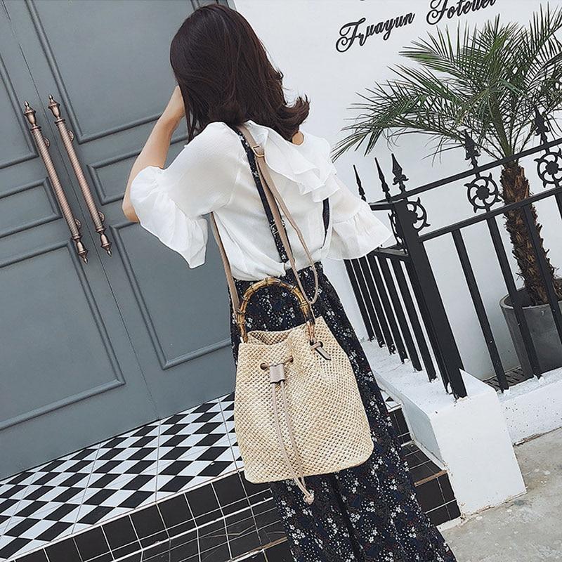 New Women 39 s Straw Bucket Bag Summer Woven Drawstring Shoulder Bags Vacation Travel Beach Bag Handbag Straw Shoulder Bag in Shoulder Bags from Luggage amp Bags