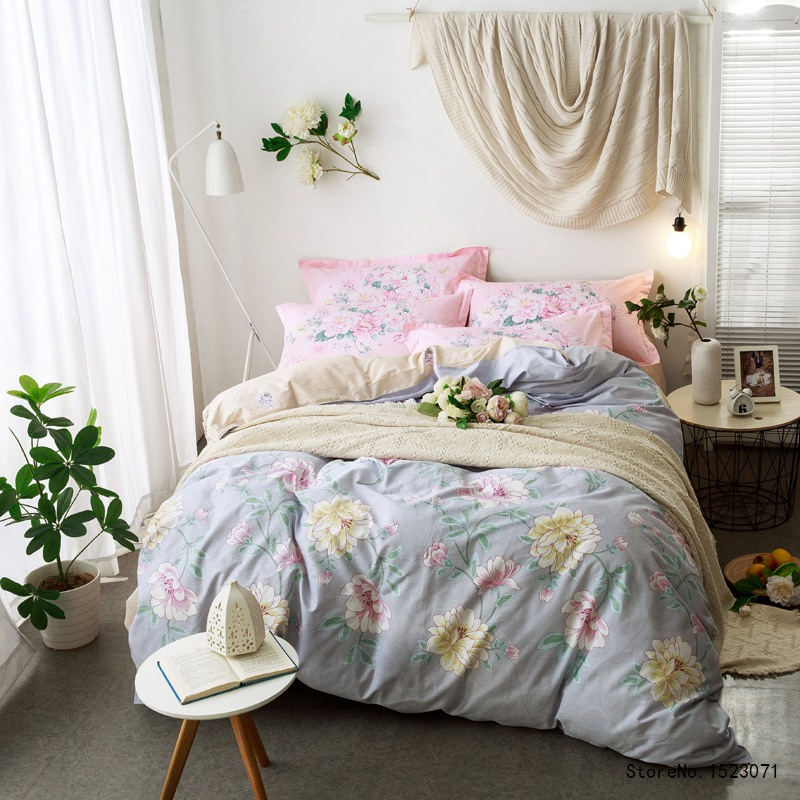 gray and yellow peony flower hometexile cotton fabric boho style style bedsheet queen size duvet cover