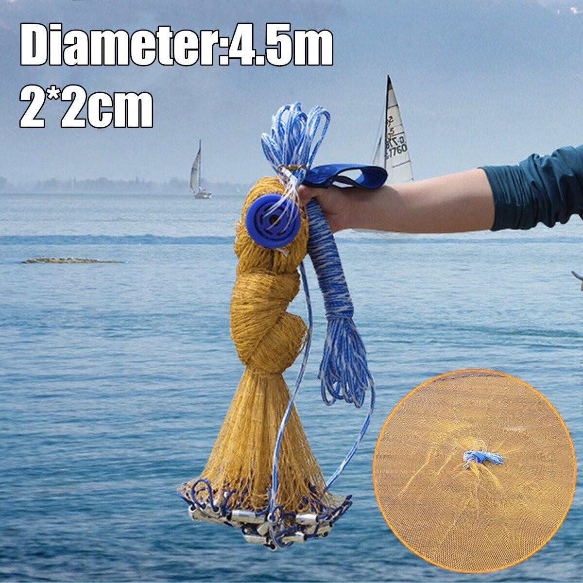 3.5M 2x2cm Hole Throw Fishing Nylon Mesh Chain Spread Bottom Bait Cast Net Gill with Sinker