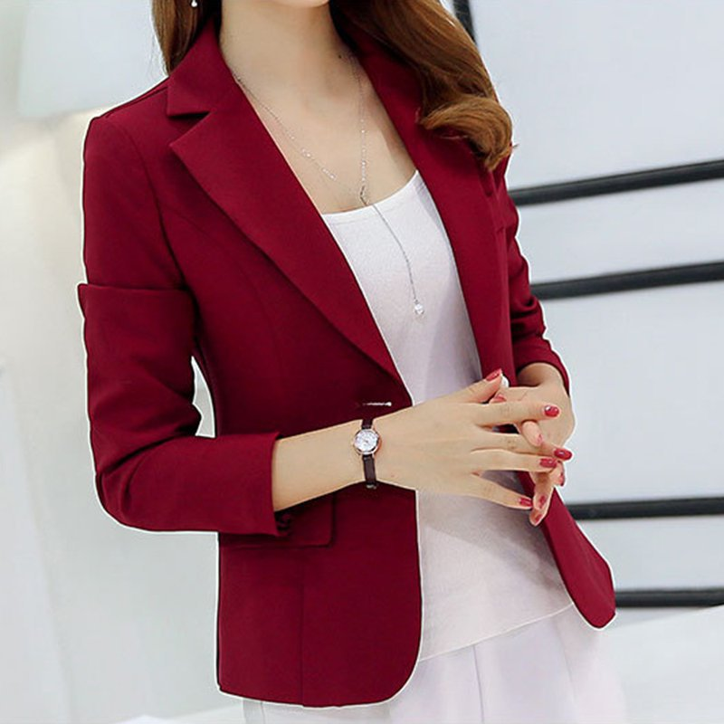 Wanita Autumn Blazer Long Sleeve Button Single Ladies Jacket Pejabat OL Slim Pendek Wanita Sut