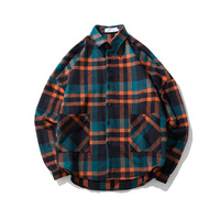 Loldeal Male and female loose Plaid woolen shirt coat check shirts thick plus size long checked shirt vintage england style
