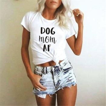 Fashion New Design Sleeve Women Funny Top Dog Mom AF T-shirt