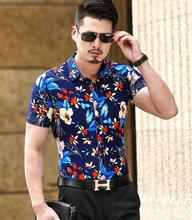 Silk Cotton Hawaiian Shirt Mens Clothing Short Sleeve Plus size Blouse Men Summer Shirts