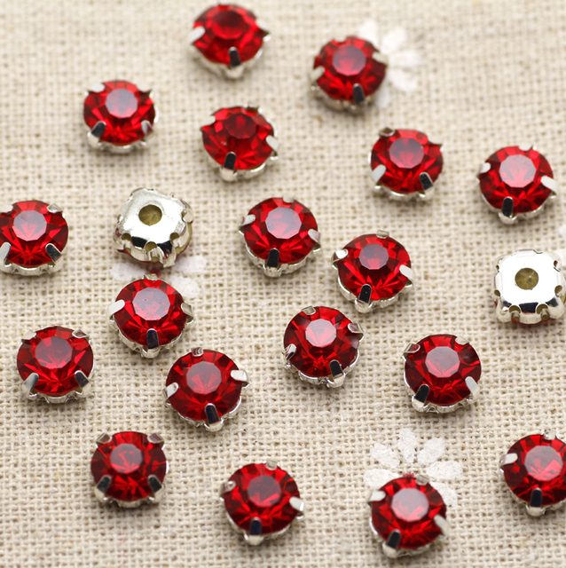 200pcs 3.8mm Red Siam Silver FlatBack Sew On Stones With Claws Silver Plated  Setting Chatons 110530227732
