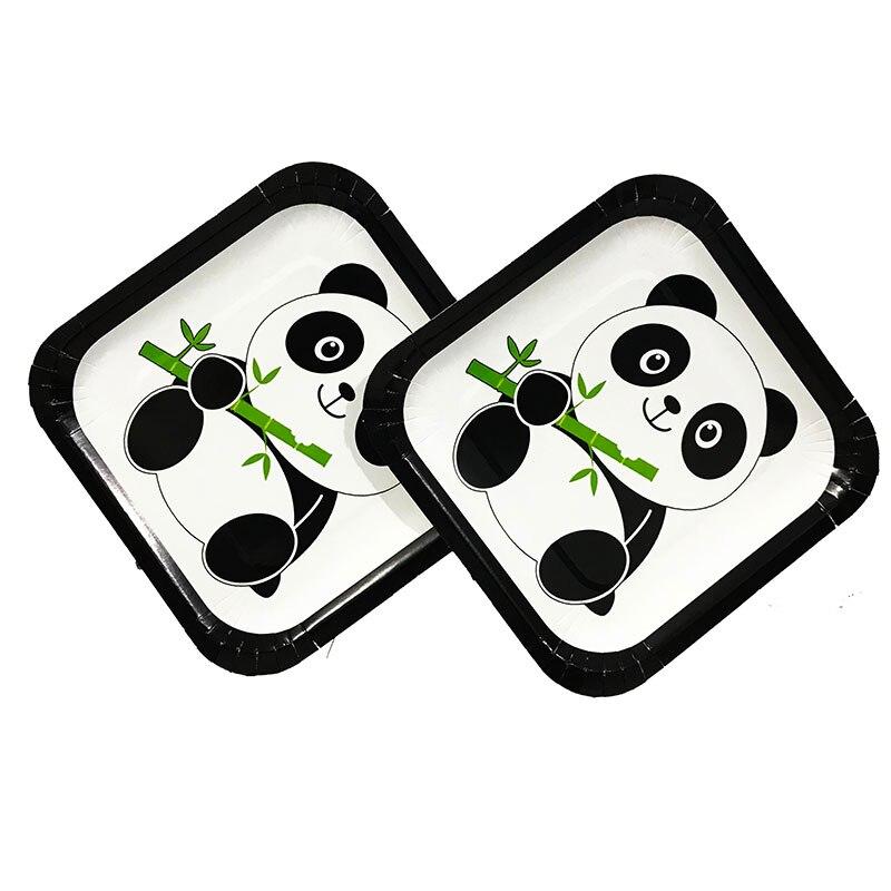 10 Stks/pak 7 Inch Papier Vierkante Platen Panda Thema Wegwerp Borden Verjaardagsfeestje Decoraties Pan Papier Platen