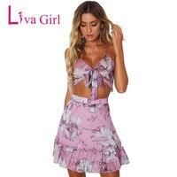 Liva Girl 2 Piece Set Women Skirt Sexy Two Piece Set A Line Mini Skirt And