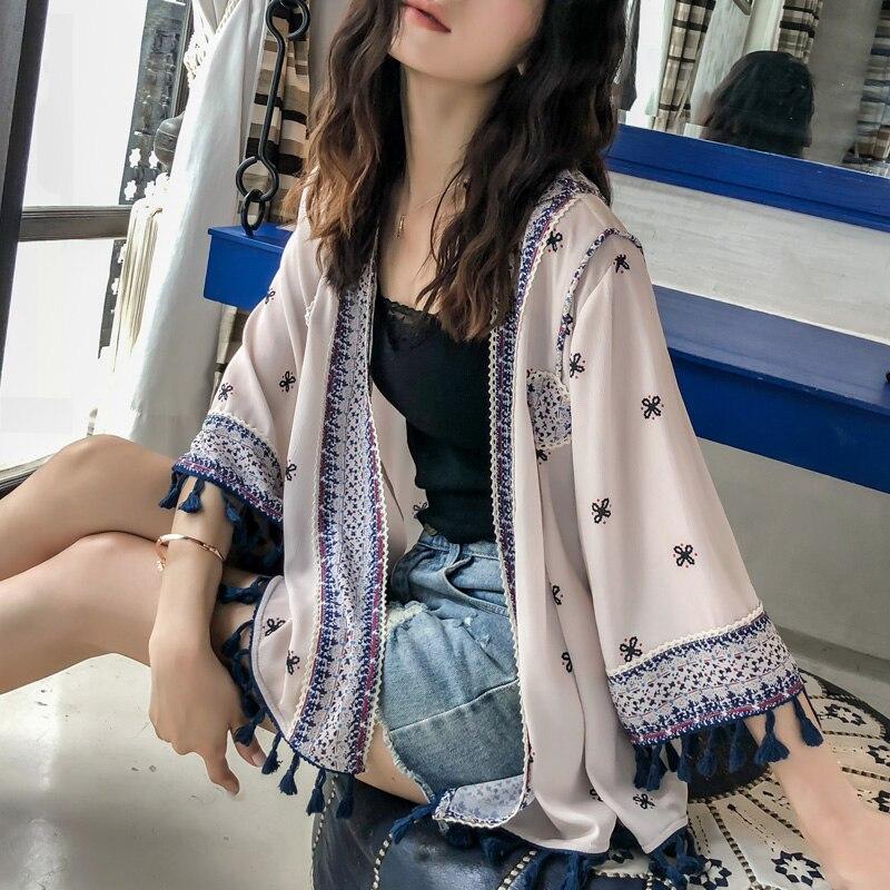 Survêtement Manteau Gland Femme Décorer D'été Solaire Hauts Dame Surdimensionné Boho Chemise Mode Brodé 2019 Plage Kimono Ample BFvIxWqRH