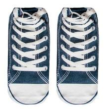 5 par 3D Azul Sapatos Meia Impresso Mulheres Unisex Bonito Charactor Low Cut Tornozelo Meias meias de Algodão das Mulheres Casuais meias
