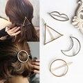 Vintage  Circle Lip Moon Triangle Hair Pin Clip Hairpin Barrettes Pretty Womens Girls Metal Round Hair Jewelry Accessories