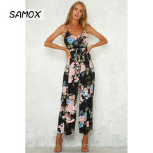 JSMY Summer Sexy V-neck Off-the-shoulder Backless Print Long Slit Straight Jumpsuit plunge floral print side slit jumpsuit