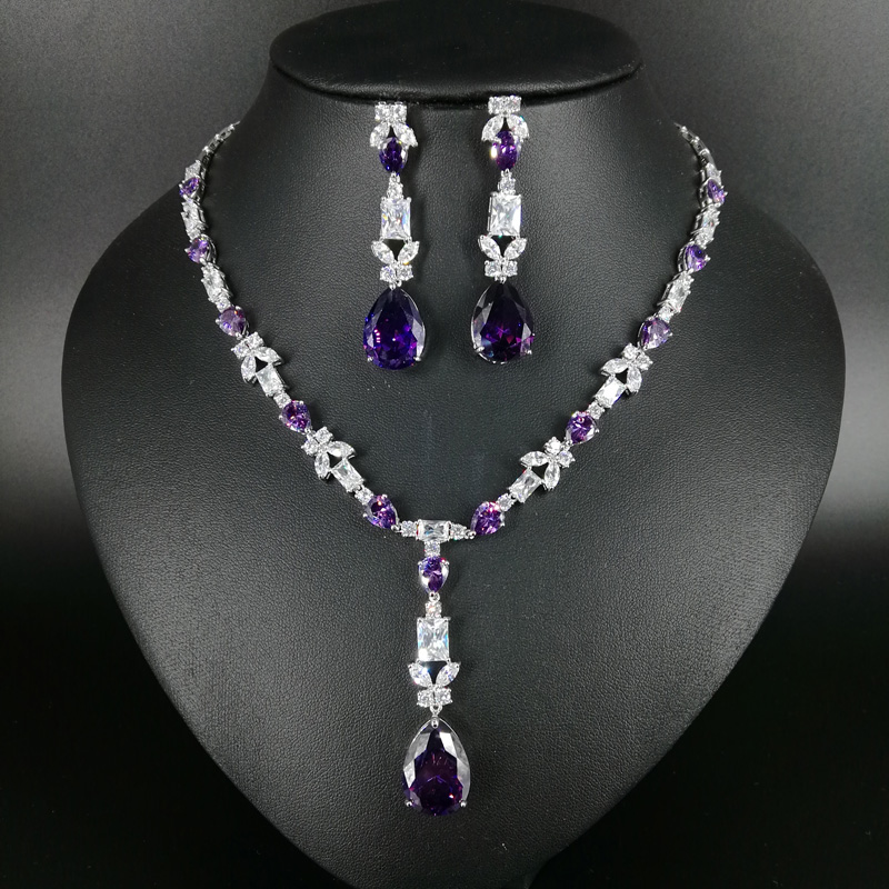 2019 new fashion popular romantic purple water drop necklace earrings jewelry set wedding bride dressing banquet formal jewelry