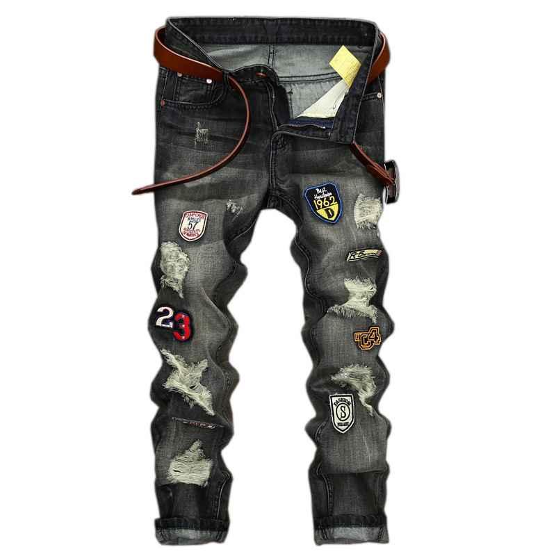 #1543 2017 Distressed Hip hop jeans famous brand Fashion Badge Slim Quality Biker jeans men Ripped denims Mens classic jeans
