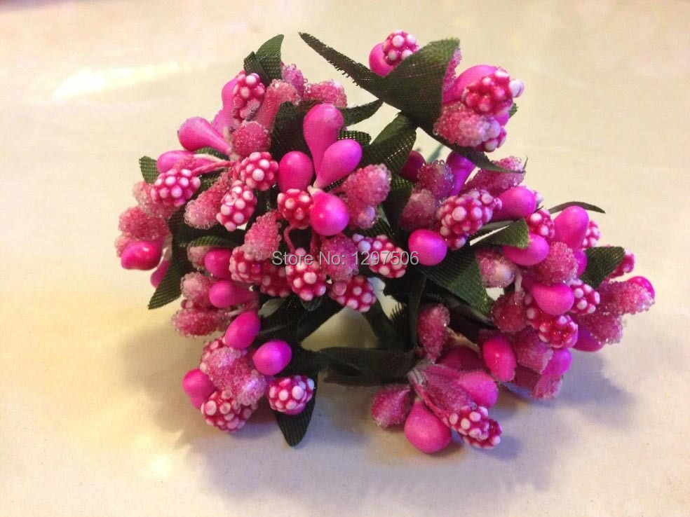 glass beads flower stamens with leaves,artificial mini fruits,decoration for Chistmas,party,garland accessories,hair ornament