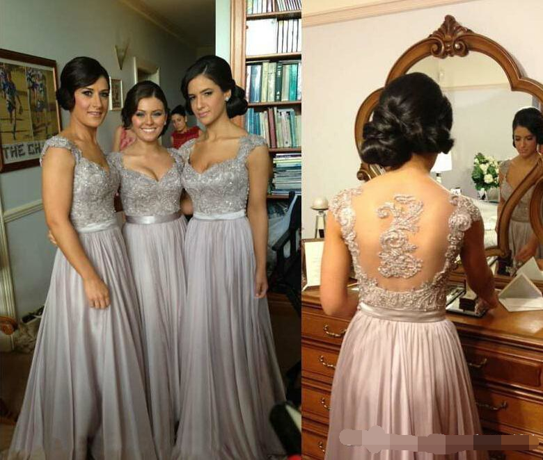 Sexy Sheer Cap Sleeve Vestido Madrinha Lace Beaded Coral Silver Lavender Purple Bridesmaid Dresses Cheap In Stock Gown