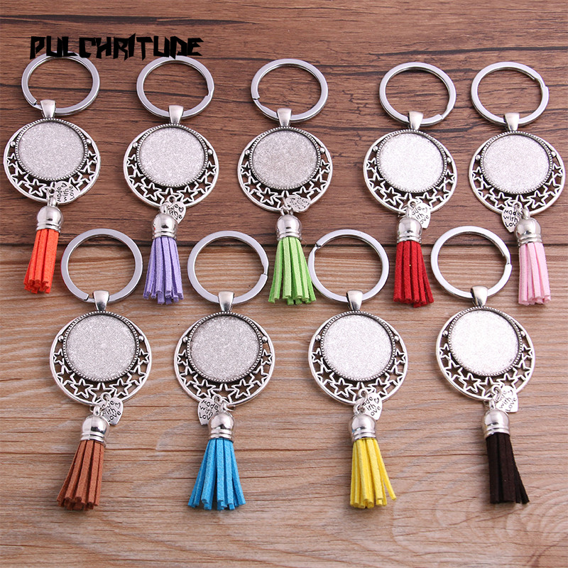 PULCHRITUDE 1pcs Metal 9 Color Tassels Key Rings Chain Filligree Fit Round 25mm Silver Cabochon Logo Pendant Diy Jewelry P6795