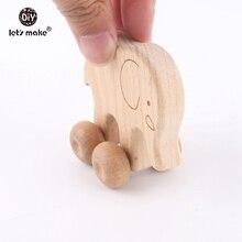 Давайте сделаем детские игрушки 2 шт. бука деревянные животные собака Elaphant автомобиль Монтессори игрушки для детей пищевые, прорезывание зубов автомобильные сиденья игрушки