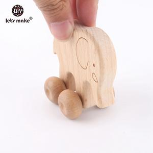 Let's make Baby Toys 2pcs Beech Wooden Animals Dog Elaphant Car Montessori Toys For Children Food Grade Teething Car Seat Toys