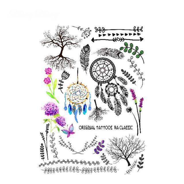 Us 199 Pióro Konstrukcje Tymczasowe Tatuaż Dzieci Fałszywy Taty Tatuagem Naklejki Tatuaże Fajne Dreamcatcher Kwiat Drzewa Sztuki Ciała Kobiet W