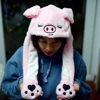Новинка, Мультяшные шапки с подвижными ушками, милый Игрушечный Кролик, шапка с подушкой безопасности, Kawaii, забавная шапка для девочек, детская плюшевая игрушка, рождественский подарок - Цвет: 3D pig