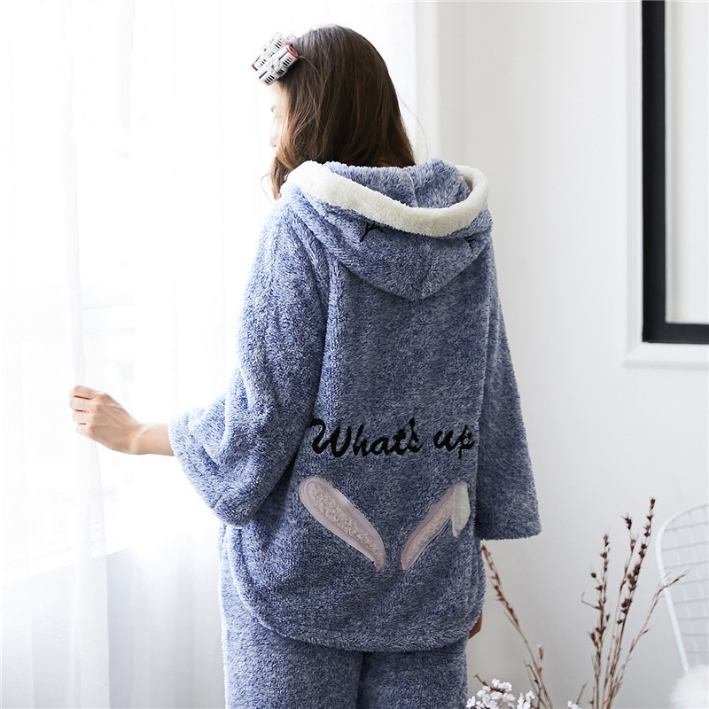 Trendy Women   Pajama     Sets   Female Winter Hooded Sleepwear Womens Cute Embroidery Letter Females Korean Style Sweet Girl Thickening