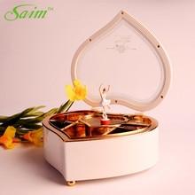 Saim Heart Shaped Music Box Dancing Ballerina Music Box Jewellery Valentine's Day Present Musical Box Hand Crank Music Box Gifts трусы music box