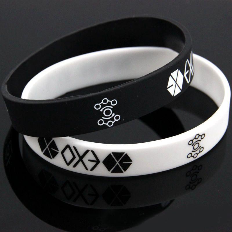 New Bracelets For Men Women Charm Black White EXO Team Logo Silicone Wristband Bracelet Kpop Star #60394