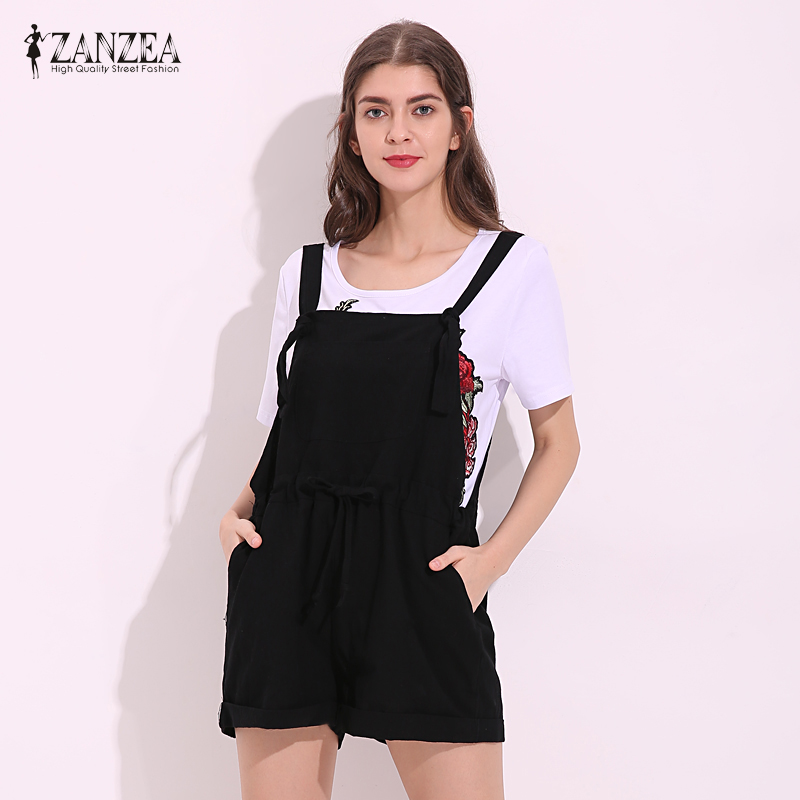 67f2012a6648 ZANZEA Womens Jumpsuits 2018 New Summer Rompers Solid Strap Overalls Casual  Pockets Loose Short Playsuits Plus