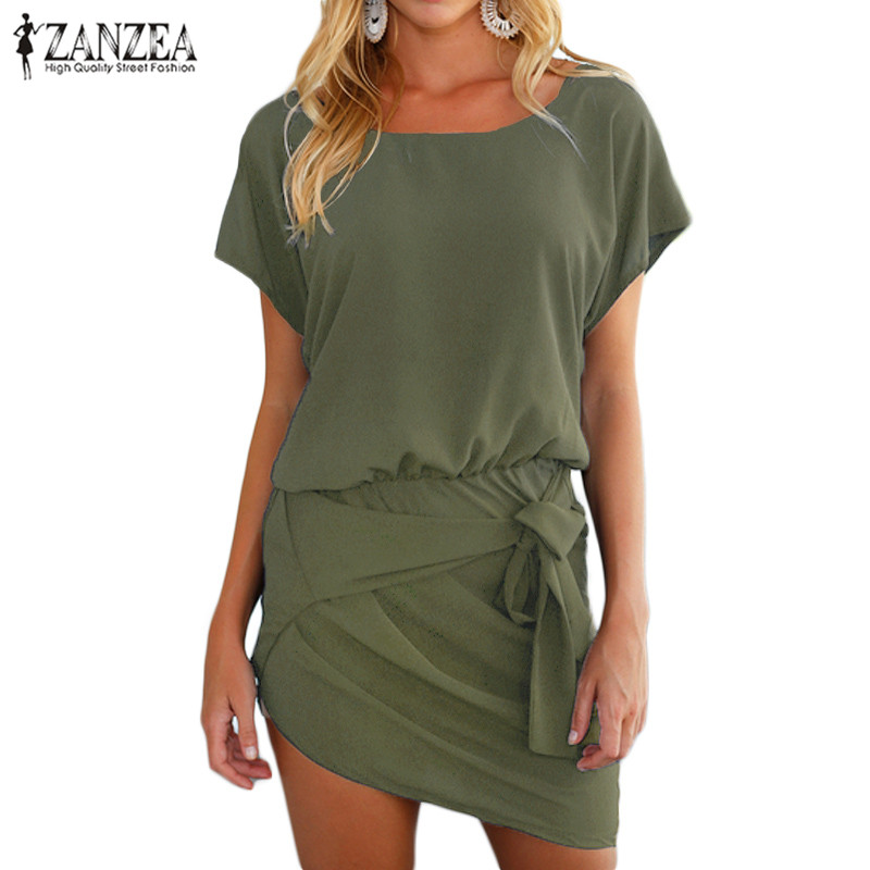 43fe8d7caa051 Plus Size ZANZEA Women Short Sleeve Round Neck Asymmetrical Banded ...
