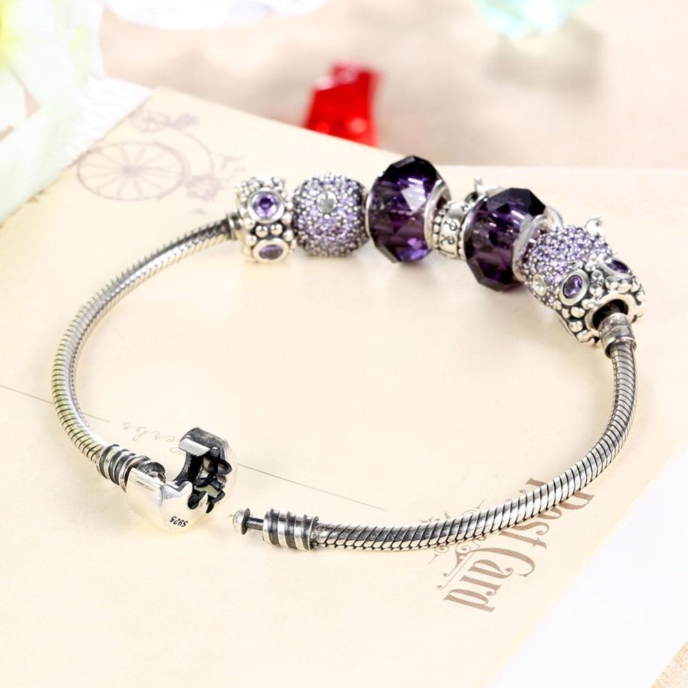 925 браслеты стерлингового серебра для женщин высокое качество, поступления 2016 г. Jewelry Винтаж Стекло бусина, жесткий Браслет Fit Браслет Femme - 5