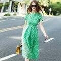 2016 лето мода женская элегантный вышивка выдалбливают впп кружева краткое платье лоскутные цельный полный платья высокое качество