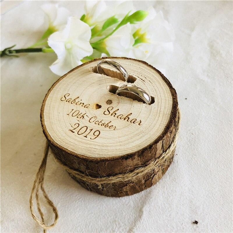 Presente de casamento personalizado caixa de anel de madeira retro titular travesseiro caixa de anel de madeira personalizado