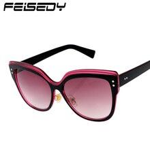 FEISEDY Vintage Cat Eye Sunglasses Women Brand Designer Fashion Retro Points Lentes Butterfly Sun Glasses Women Lunettes Gafas