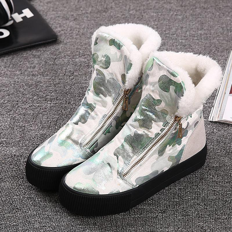 2016 Women Winter Boots Warm Cotton Ladies Platform Casual Shoes High Leopard Plush Fur Shoes Women Zipper Fashion Shoes White camel winter women boots 2015 new shoes retro elegance sheepskin fashion casual ladies boots warm women s boots a53827612