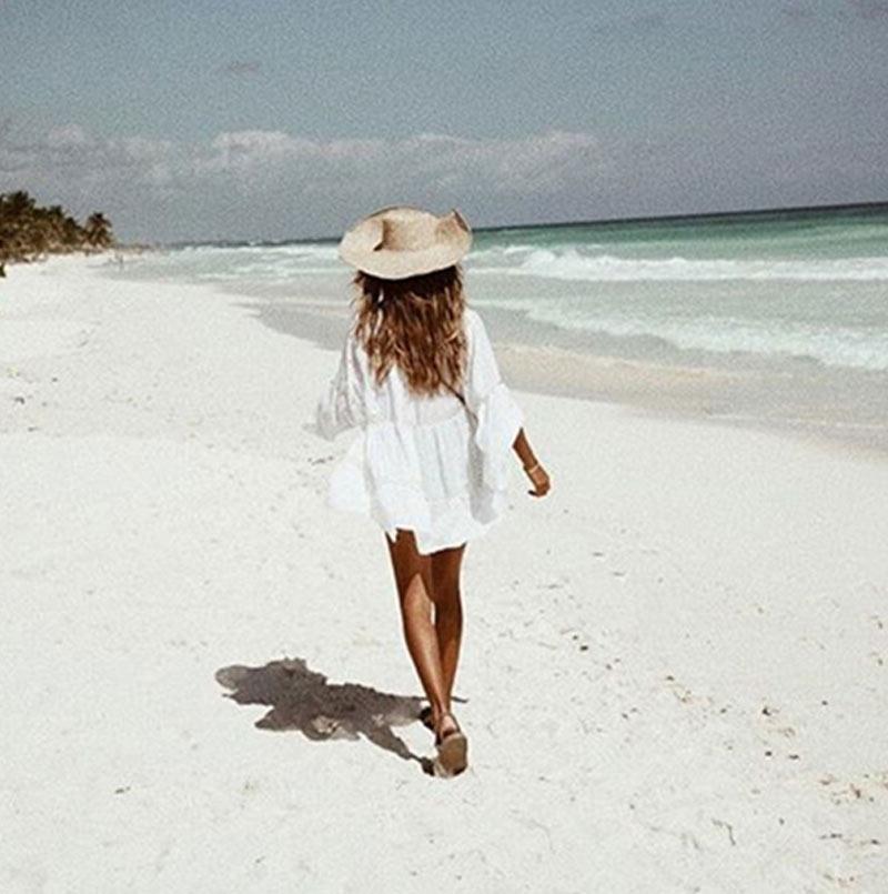 Women Bikini Cover Up Lace Hollow Crochet Swimsuit Summer Beach Dress Ladies Bathing Suit Cover-Ups YS-BUY 2