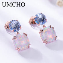 UMCHO 925 Sterling Silver Opal Stud Earrings for Women Classic Nano London Topaz Gemstone Vintage Earrings Party Gift Jewelry(China)