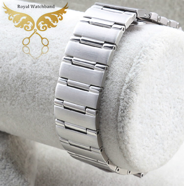 22mm 14mm Silver Men Style New High Quality Polished Stainless Steel Watch Band Strap Bracelet Depolyment
