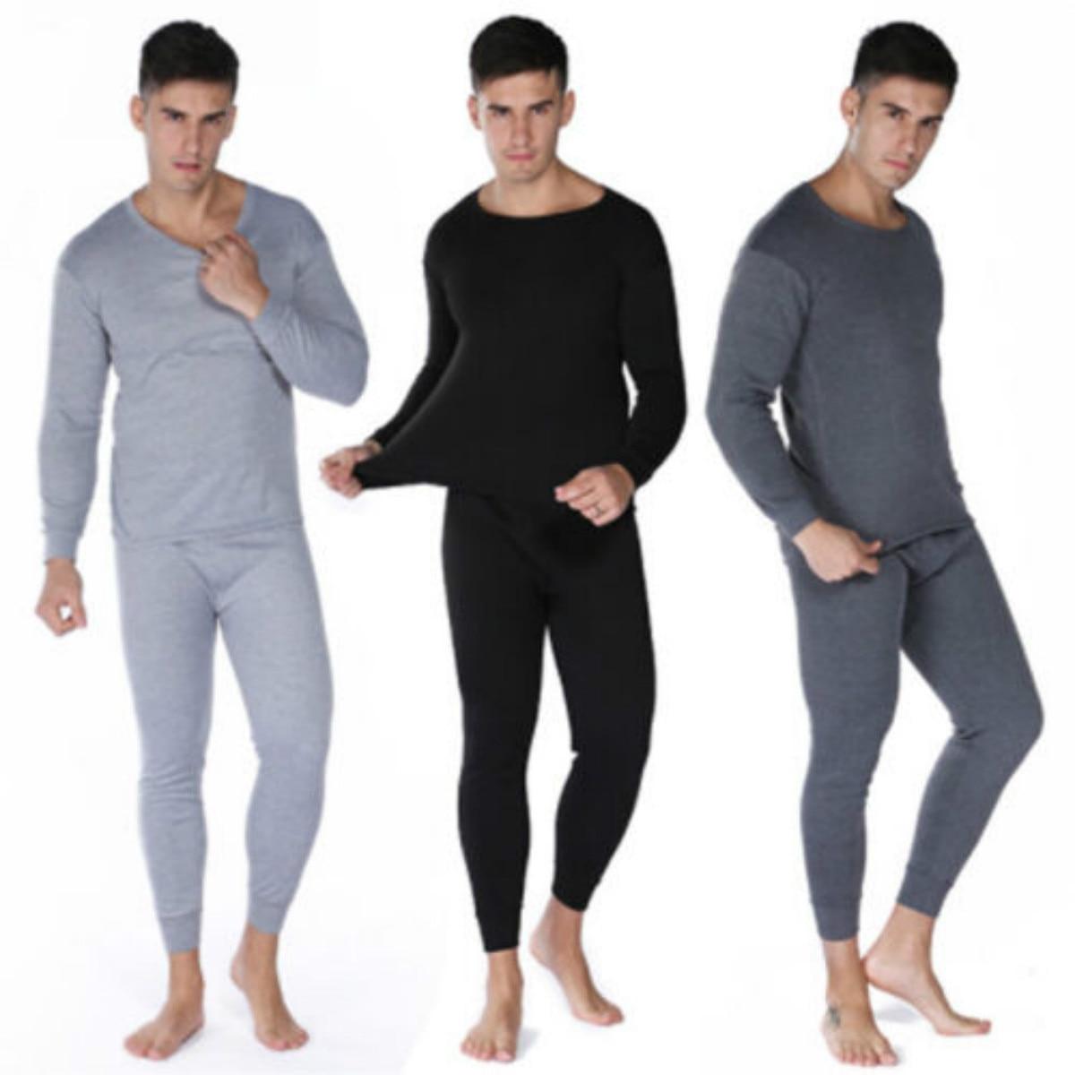 2018 New Brand Winter Fitness Men Thermal Underwear Set Long Sleeve Cotton  Top Bottom Nightwear 2PC New